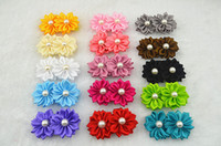 Wholesale Trail order colors DIY handmade satin ribbon flower with pearl on Grosgrain Ribbon Alligator Clip hair accesories