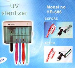 Brand New UV Toothbrush Sanitizer Esterilizador Toothbrush Holder Toothbrushes mais limpo plástico Box banheiro portátil Frete Grátis