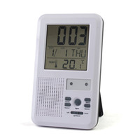 Wholesale 10pcs EMS Brand New LED indicator m melody Mutifunction wireless Doorbell Alarm w Clock amp indoor Temperature Freeshipping