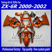 Wholesale 7 gifts bodywork fairings for kawasaki Ninja ZX6R ZX R ZX R zx r black flame in orange fairing kits XX18
