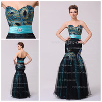 Model Pictures Sweetheart Tulle Unique Peacock Beadings mermaid Black tulle Teal Prom dresses Lady's Formal Dress Gown Evening Cocktail Dresses New TB238