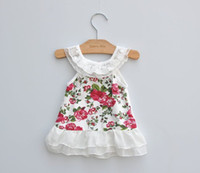 Wholesale 2013 Cool Summer New Baby Girls Kids Vintage Flower Floral Printing Suspender Lace Vest Dress Children Fancy Party Dress Clothes Dandy