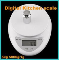 Básculas freeshipping a estrenar de 5kg 5000g / 1g postal de la dieta de la cocina Escala Digital ponderación contrapeso LED electrónica WH-B05