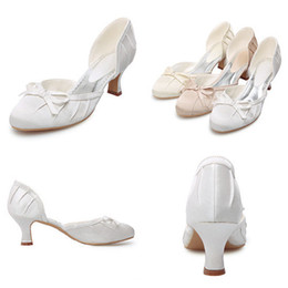 Bride Wedding Shoes Med Heels cm Bow Satin White Ivory Women s Shoes