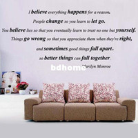 Wholesale MARILYN MONROE I Believe Everything Happens Quote Vinyl Wall Decal Sticker Decor