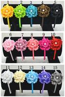 Wholesale Trail order lovely colors satin ribbon flower hairband Multilayers DIY Flower with pearl centre headband