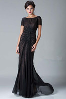 Wholesale 2013 Sexy Black Evening Dresses Short Sleeves Beaded Mermaid Mother Of The Bride Dresses