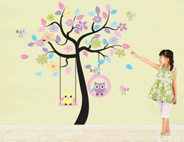 online shopping Large Flower Tree amp Owls JM7186AB Removable Wall sticker Decal Baby Nursery Wall Decor Kids Room