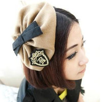 Wholesale Embroidery badge bow hat hair bands headband small fedoras hair accessory hair accessory military vintage