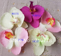 Wholesale 200pcs real touch Artificial lint orchid Flower Heads phalaenopsis DIY wedding headware decoration