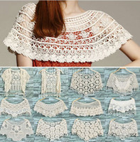 Wholesale Womens Ladies Lace Hollow Crochet Knit Cape Shawl Tank Top Vest Jumper Pullover