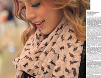 Wholesale New Lady Chiffon Scarf Marilyn Monroe Sexy Cat Pattern Fashion Long Soft Comfortable Autumn and winter Women Shawls C0862