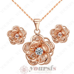 Yoursfs Classic Elegant Jewelry Set 18 K Rose Gold Plated Used Crystal Flower Pendant Wedding Necklace&Earring Bridal Party Jewelry Sets