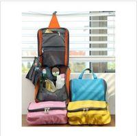 Wholesale 2013 Travel Check Waterproof Storage Cosmetic Bag Picnic Sorting Hanging Wash Bag Korea Make Up Organizer Case