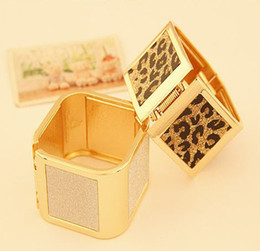 New European Fashion Silver Gold Tone Square Wide Bangle Cuff Jewelry Leopard Frosted Women Bangle Bracelet FD