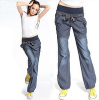 Wholesale 2color fashion women Harem jeans New arrival lady s Hip Hop Jeans waist has a bow knot Lower Garments