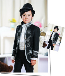 Wholesale Handsome Black With Embroidery Boy s Suit Boys Formal OccasionTuxedos AA