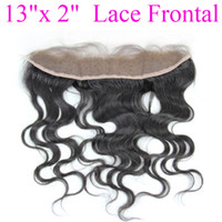Wholesale 100 human hair quot x quot free part hair lace frontal hairpieces virgin body wave human remy hair weave DHL