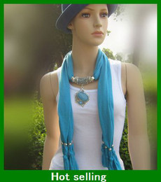 Wholesale Fashion Scarf jewelry Pendant necklace women Soft scarves Jewellery Mix Color
