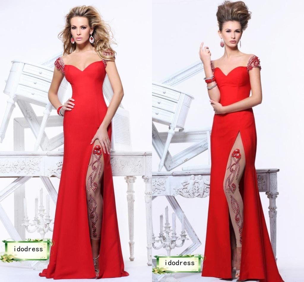2014 Top Grade Red Pageant Dresses Off Shoulder Sheath Satin Side ...