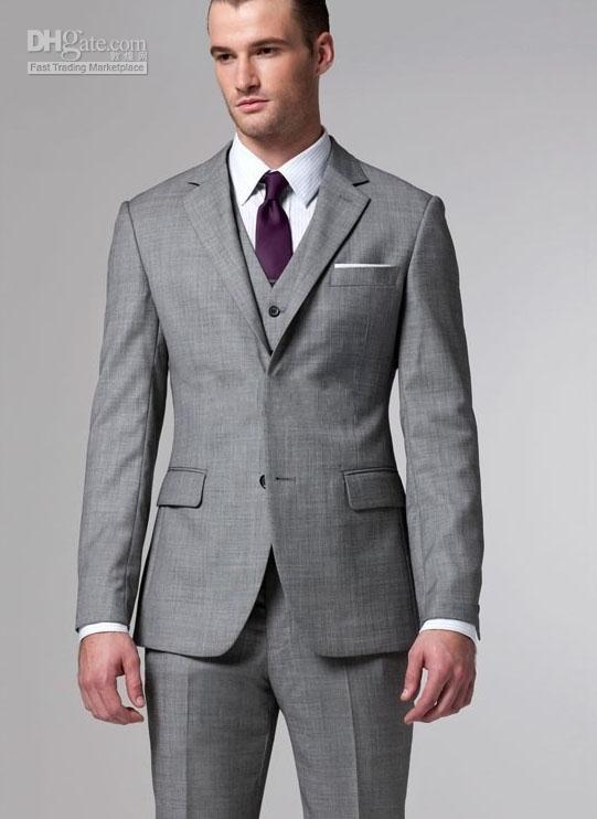 Silver Grey Tuxedos 2016 Hot Sale Men Suits Two Buttons Wool