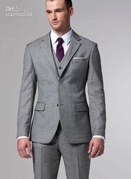 Wholesale silver Grey tuxedos hot sale men Suits Two buttons Wool Wedding Suits Groom Tuxedo Suit For Mens suits jacket vest pant tie