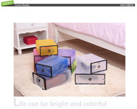 Wholesale Transparent Colorful Foldable Storage Box Plastic Clear Shoes Storage Box Drawer Type Lady s Size cm
