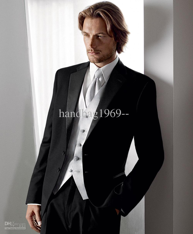 Wedding Mens Wedding Tuxedos best selling two buttons black groom tuxedos man suits groomsmen men wedding jacketpantsvesttie ok511 suit