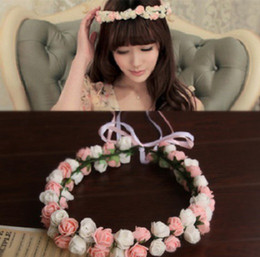Wholesale White Pink rose blossoms ribbon wedding accessories headwear bride headwear bride wreath