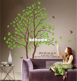 Wholesale Removable Large size in1 Green AB Twins Lover Trees Wall Sticker Mural Decor Sitting Dinning Room Bedroom TV background Decal