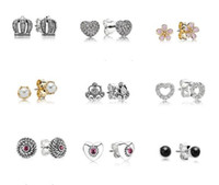 Wholesale New Arrivals pandora earrings silver jewelry Hot Charm Earrings European Stud Earrings pairs mix