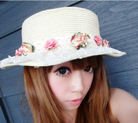 Wholesale Free Fedex Shipping new flat top lace flowers paper straw hat sun hat beach hat lady