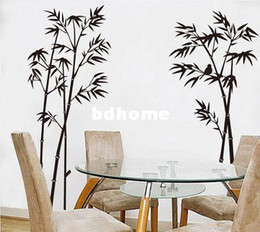 Wholesale S Black Bamboo Mural Decor Decals decorative Removable Craft Art Wall Stickers