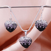Wholesale Fashion Silver Sparkly Black Gradient Color Shamballa Heart Crystal Beads Pendant Necklace Earrings Set Sets