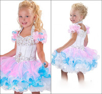 Wholesale Custom Made New Cute Little Girl s Pageant Dress Ball Gown Cupcake Mini Short Ruffles Beaded Organza Glitz Flower Girl Dress