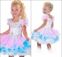 Wholesale Custom Made New Cute Little Girl s Pageant Dress Ball Gown Cupcake Mini Short Ruffles Beaded Organza Glitz Flower Girl Dress