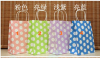 Wholesale 13 Colors Polka dot kraft paper bag amp Festival gift package Fashionable gift paper bag cm