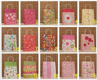 Wholesale 15 Style cm Fashion Hand Length Handle Paper Bag kraft paper bag Festival gift package