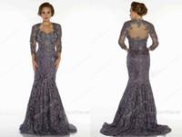 Wholesale 2013 Mother Of The Bride Dresses Bateau Long Sleeves Bolero Elegent Applique Lace Mermaid Vintage Evening Dresses d