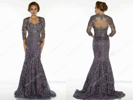 Wholesale 2013 Mother Of The Bride Dresses Bateau Long Sleeves Bolero Elegent Applique Lace Mermaid Vintage Evening Dresses d