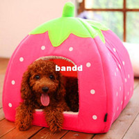 other air kennel - Cute and Lovely Folding Strawberry Pet House Kennel Cat Dog Bed Collapsible via China post air mail
