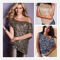 Wholesale New Women Club Shirt Off Shoulder Sparking Sequin Trim Tank Top Short Batwing Sleeve Party T shirt Cheap Price