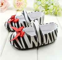 Wholesale Fashion zebra stripe Buckle Strap Baby first walker shoes soft bottom Red bowknot toddler shoes Infant shoe cm pair QS123