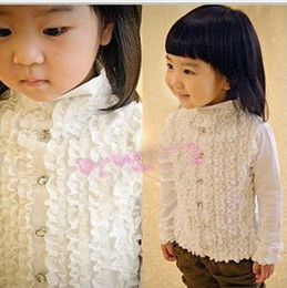 Wholesale Children s Shirts New autumn clothing white long sleeve shirt Girl s Shirts kids clothing