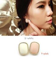 Stud gemstone earrings - Brief bordered pink rectangle stud earring earrings female gemstone earring