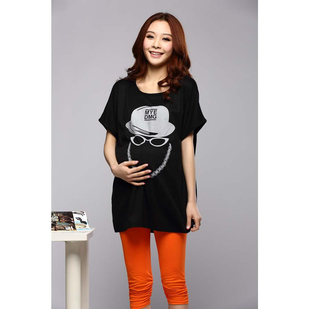 Pictures Of 2013 Maternity T Shirt Black Printed Dress T
