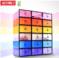 Wholesale New Arrival Thickened Plastic Shoe Box Transparent Clear Shoebox Foldable Storage Box Man s Size cm