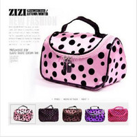 Wholesale Promotion Hot Cute Double Zipper Dot Cosmetic Box Makeup Bag Coin Pouch Key Make Up Case Hand Clutch Bag Phone Bag