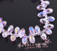 Wholesale 200Pcs Fashionable x12mm Transverse Hole Water Drop Crystal Beads Pink AB