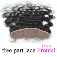 Wholesale Body wave lace frontal hairpieces virgin human remy hair quot x quot free part hair weave DHL